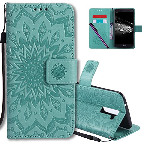 COTDINFORCA LG K10 Flip Case Emboss Mandala with Card Holder Slot Pockets, Wrist Strap, Magnetic Closure Premium PU Leather Case Cover for LG K10 (2016) / LG Premier LTE L62VL L61AL. Mandala Green