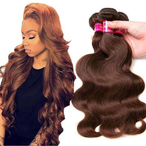 Aphro Hair Brazilian Hair Light Brown Body Wave 3 Bundles Body Wave Virgin Human Hair Remy Human Hair Weaves 4# Light Brown Color (12 14 16)