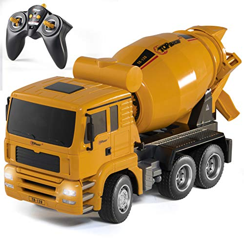 Top Race Remote Control Cement Truck Toy RC Cement Truck Gift Toys for 2,3,4,5,6,7,8,9 Years Old and Older 6 Channel Construction Toys, Works Well with Dump Trucks & Rc Excavator for Boys TR-120