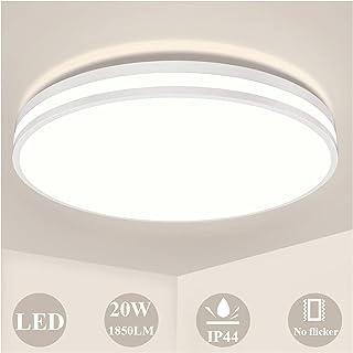 Plafonnier LED 20W, Öuesen Rond Lampe de Plafond Blanc Naturel 4000K Plafonnier Salle de Bains 1850LM Moderne Luminaire Pl...
