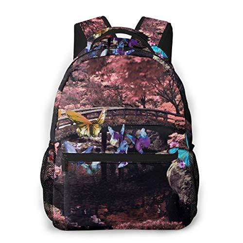 YANGPI Fashion Unisex Backpack Bonsai Tree Japanese Rising Sun Bookbag Lightweight Laptop Bag for School Travel Outdoor Camping
