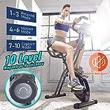 leikefitness LEIKE X Bike Bicicleta estática plegable ultra silenciosa, bicicleta vertical magnética con frecuencia cardíaca, monitor LCD y fácil de montar 2200 (azul)