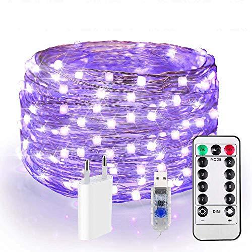 120er LED UV Shwarzlicht, USB Lichterkette Draht Dimmar, 12M UV Licht, IP65 Wasserdicht 8 Modi Fairy Lights mit Fernbedienung & EU Stecker für Dekorationsbeleuchtung Party Bar, Karneval, Wohnheim Deko