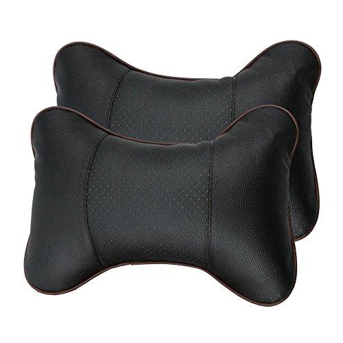 Leeko 2PCS Leather Car Seat Pillow Breathable Car Head Neck Rest Cushion Headrest Auto Car Safety Pillow - Black (Black)