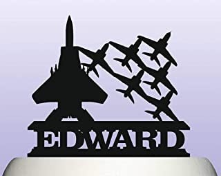 Personalised Acrylic Air Force Military Fighter Plane Escort Cake Topper for Anniversary Party Decorations Birthdays, Weddings, Themed Parties Cake Decoration In Your Choice of Color