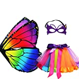 Rainbow Kids Butterfly Wings Costume for Girls, Butterfly Dress Up Wings with Mask Tutu Masquerade Role Play Party (Multicolor)