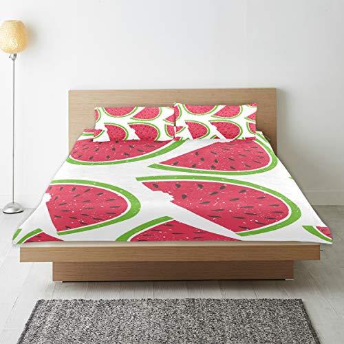 DEZIRO - Juego de funda de edredón para adolescentes, diseño de sandía, algodón natural puro, tamaño individual con 2 fundas de almohada para decoración de dormitorio de niños, juego de cama de 3 piezas
