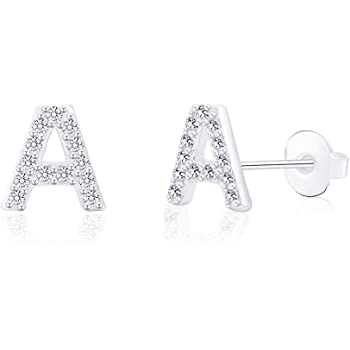 B trending jewels Silver Initials Stud Earrings with CZ Crystal