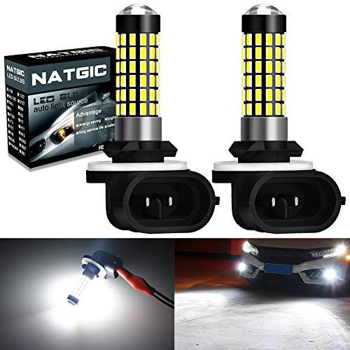 NATGIC 881 894 886 889 896 898 Bombillas LED Xenon White 1800LM 3014SMD 78-EX Chipsets con proyector de lentes para luz de niebla Luz de circulación diurna, 6500K, 12-24V (paquete de 2)
