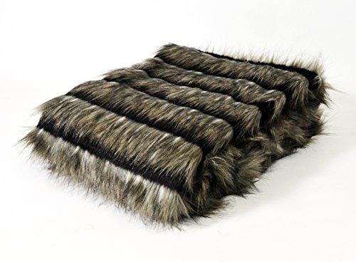 Homemaison Plaid Fellimitat Hochfloor, Acryl, Taupe, 170x 130cm