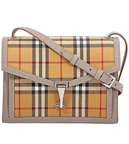 Burberry Taupe Brown Small Macken Vintage Check Leather Canvas Bag Handbag New