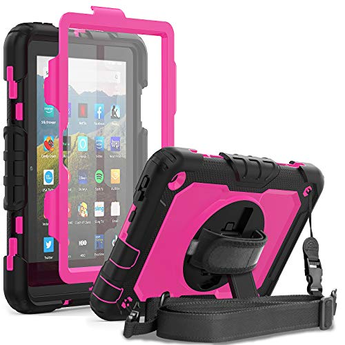 Fire HD 8 Case 2020 for Kids | Herize All-New HD 8 Plus Case | Three Layer Child Proof Drop Protection Silicon Cover Built-in Screen Protector Kickstand Hand Strap for Amazon Kindle HD 8 | Rose