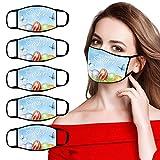 DeHolifer 5 Stück Ostern Mundschutz Waschbar Stoffmaske Erwachsene Mundbedeckung Atmungsaktiv Mund und Nasenschutz Multifunktionstuch Staubs-chutz Halstuch (5pc, Blau)