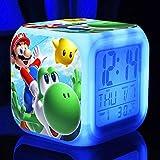 Reloj de anime Super Mario Super mario bros reloj despertador para niños reloj digital de dibujos animados luz de despertador reloj led reloj despertador Mesa reveil Desk wekker