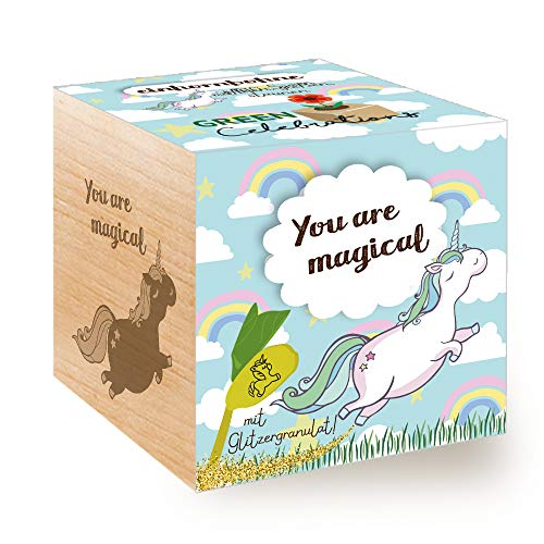 Feel Green Grow Your Own Einhornbohne, Holzwürfel Mit Lasergravur «You Are Magical», Nachhaltige Geschenkidee, Anzuchtset, Ecocube, Made in Austria
