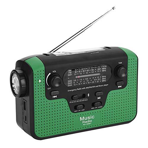 Radio FM/AM/SW Radio Solaire à manivelle avec Bluetooth, Lampe de Poche à Del et Chargeur de Batterie Compatible avec Le Chargeur de Carte TF/Appel Mains Libres/téléphone Portable (Vert)