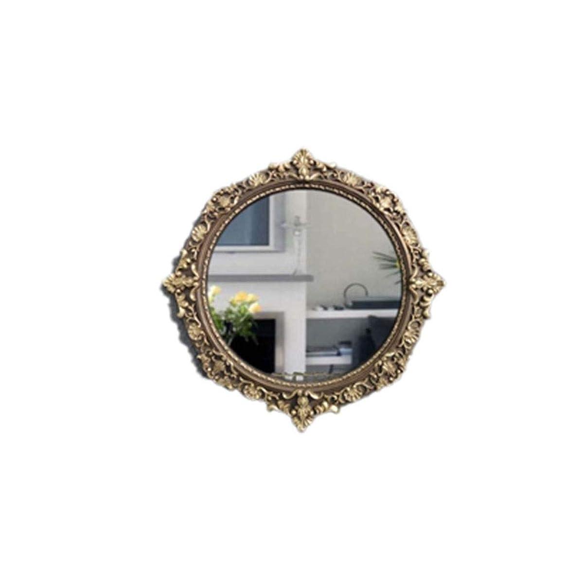 処方アッパードキドキ明るい鏡 レトロなラウンドミラー、ヨーロピアンスタイルの彫刻装飾的な鏡防水浴室の化粧鏡カフェウォールマウントミラー47 * 47センチメートル メイクアップとミラー (Size : 47*47CM)