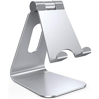 スマホ・タブレット兼用スタンド アルミ 角度調整可能, Lomicall スタンド : 充電スタンド, ホルダー 対応 タブレット 卓上 (4~10''), アイフォン, アイパッド, Nintendo Switch lite, Qua Tab PZ, MediaPad, ASUS ZenPad, Lenovo Yoga Tab, Xperia Tablet Z 対応