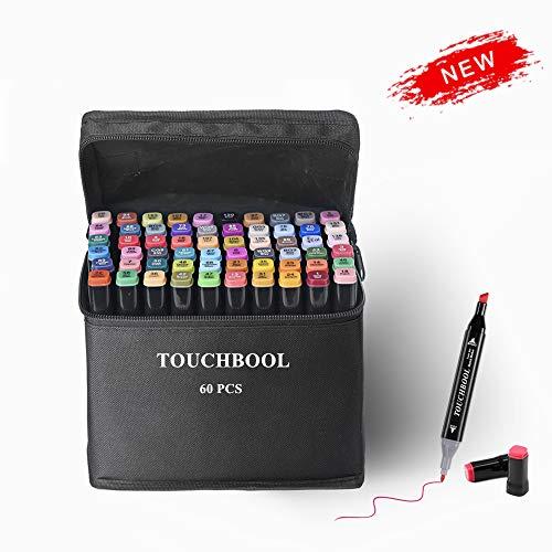 AVNTEN 60 Farben Graffiti Stifte Dual Spitze Filzstifte, Marker Set für Animation Art Sketch Mit (Schwarze Muschel)