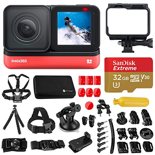 Insta360 One R 4K Edition Wide-Angle Waterproof Sports and Action Camera Bundle with Froggi Extreme Sport Accessory Set, 32GB microSD Card