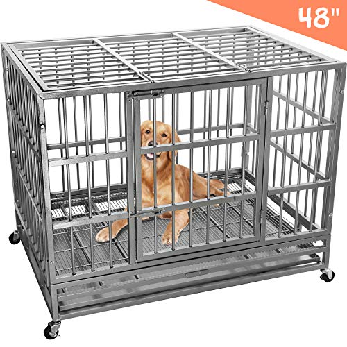 Heavy Duty Dog Cage Crate, Pet Kennel Strong Metal for Training Large Dog, Easy to Assemble, with Two Prevent Escape Lock, Lockable Wheels, Removable Tray for Indoor Outdoor (42in, Black)