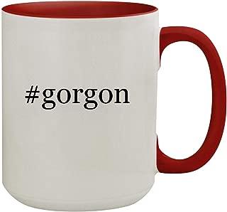 #gorgon - 15oz Hashtag Colored Inner & Handle Ceramic Coffee Mug, Red