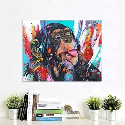 Vrolijk Schilderij Wall Art Canvas Schilderij Dieren Foto Prints Ondeugende Chimpansees Woondecoratie C 45x60cm Geen lijst