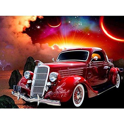5D Diamond Painting by Number Kits Full Drill for Adults Kids,Craft Rhinestone with Diamonds Set Arts Decor Vintage Cartoon Car 15.7x11.8Inch