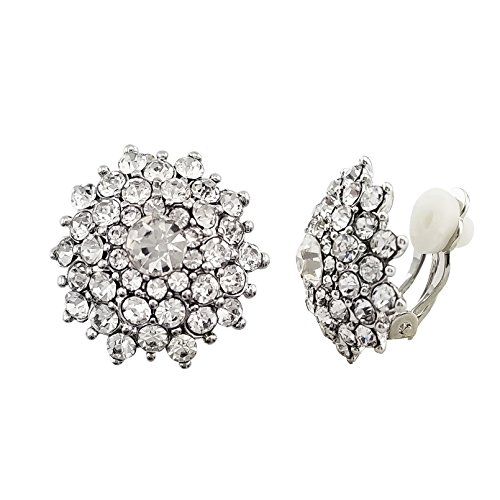 SELOVO Clear Crystal Statement Snowflake Non Pierced Clip on Stud Earrings Silver Tone