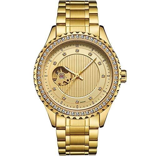 REIUYTHO Mira los hombres automático de lujo de acero inoxidable reloj mecánico, diamante del reloj del dial, Easy Reader Fecha de expansión banda reloj, resistente al agua, correa de moda, oro, plata