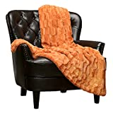 Chanasya Fuzzy Faux Fur Rectangular Embossed Throw Blanket - Super Soft and Warm Lightweight Reversible Sherpa for Couch, Home, Living Room, and Bedroom Décor (50x65 Inches) Orange