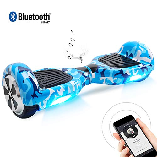 BEBK Hoverboard 6.5 Pollici Hover Board - Smart Self Balance Scooter Electrico con Bluetooth/LED, Borsa Inclusa, Autobilanciato Overboard Certificazione UL 2272, 700 W Motore