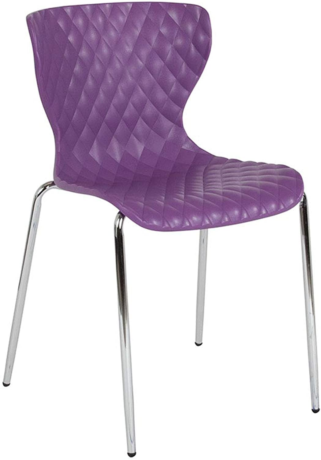 Offex Contemporary Design Curved Back Plastic Stack Chair, Purple