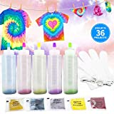 Caloyee Tie Dye Kit, 5 Colors One Step Cloth Fabric Shirt Dye with Gloves, Rubber Bands for Kids Women Fashion DIY Projects Party Activities