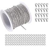 Remebe 33 pies cadena de Cable de enlace de acero inoxidable con cierres de langosta 20 y 40 saltar anillos para hombres mujeres cadena de joyería DIY Making, 2.0 mm