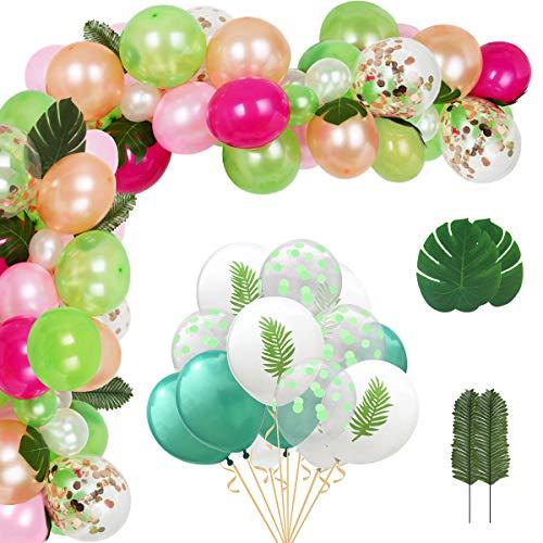 Hongyans Decoración de Fiesta Hawaiana Tropical Arco de Globos Cumpleaños con Hojas de Palma Globos Verde Rosas Guirnalda Globos Luau para Selva Verano Cumpleaños Festival Decoracion