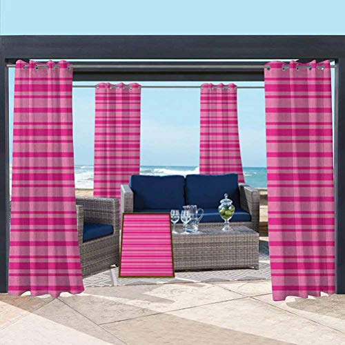 ParadiseDecor Hot Pink Washable Curtains Balcony, Deck Curtains Horizontal Bold and Thin Stripes in Pink Tones Geometrical Classic Composition Pink Hot Pink 108W x 84L Inch