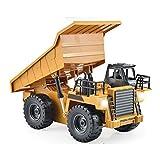 IIIL Juguete Camión Volquete RC Camiones Construcción Pesada, Totalmente Funcional Juguetes Control Remoto 6 Canales Construcción para Niños Luces Tractor Escala 1:18