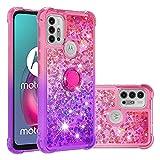 Ysnzaq Coque pour Motorola Moto G10 Étui, Fille Personnalisé Liquide Glitter Paillettes Flowing...
