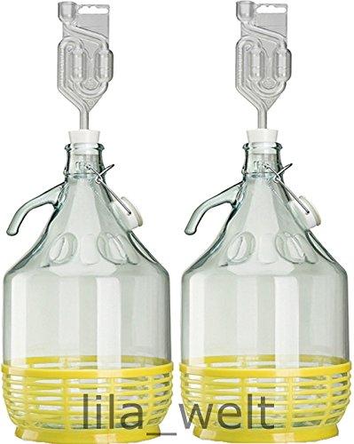 Unbekannt 2 x Set 5L Bügelflasche + Stopfen + Gärröhrchen Weinballon Gärballon Glasflasche Bügelverschluß Gärbehälter