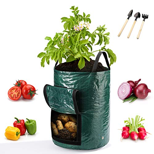 WOHOUS 4 Pack 10 Gallon Potato Grow Bags, Heavy Duty Thickened Vegetable Grow Pots with 3 Tools, Two-Sides Velcro Window Garden Grow Bags for Tomato,Carrot,Onion,Fruits Vegetable Planter
