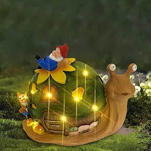 SSFZ Estatua de jardín solar con luces LED, 23 cm, decoración de césped al aire libre, caracol que lleva Santa Claus para patio, balcón, patio, césped, inauguración de la casa regalo