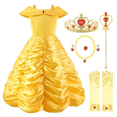 Ohlover Little Girls Princess Off Shoulder Layered Costume Dress with Accessories (4 Years, Yellow with Accessories)