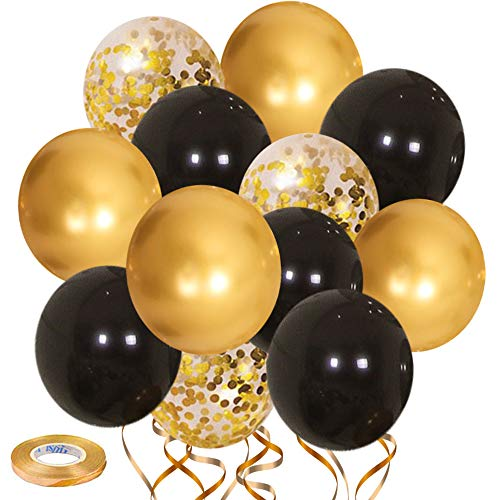 Black and Gold Balloons50pcs 12 inch Gold Confetti Balloons  Black Latex Balloons for Birthday Wedding Baby Shower Celebration Graduation Party Balloons