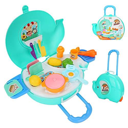 CestMall - Juegos de rol para cocinar, Juegos de Cocina, Juegos de Comida, Juguetes de Juego, 27 Piezas de simulación de Chef, Juego portátil, Juguete para niños en Edad Preescolar con Accesorios