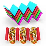 GINKGO Colorful Taco Holders set of 6, Taco Holder Stand with Handle Can Hold 2 or 3 Tacos Each, BPA Free Healthy PP Material Dishwasher Safe
