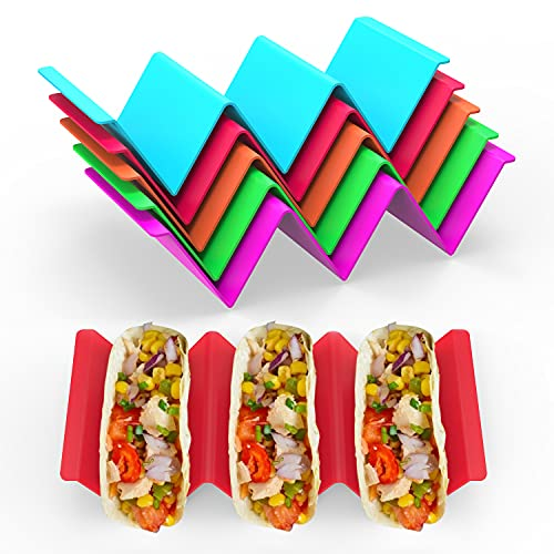 GINKGO Colorful Taco Holders set of 6, Taco Holder Stand with Handle Can Hold 2 or 3 Tacos Each, BPA...