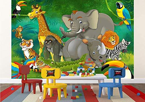 Murales Fotomurales Animales Del Bosque De Dibujos Animados Papel Pintado No Tejido 3D Papel De Pared Dormitorios Salón Hotel Fondo De Tv Elegante Moderno Fine Decor Murales 350 X 250 Cm