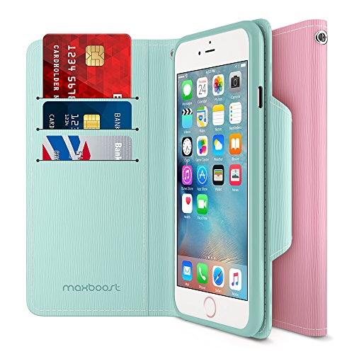 Maxboost iPhone 6S 6 Wallet Case, iPhone Wallet Case for iPhone 6S / 6 Protective PU Leather Card Case with Credit Card Slots + Side Pocket Flip Magnetic Stand Feature - Mint/Light Pink