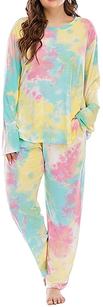 ALLEGRACE Plus Size Pajama Set Pants Women Tie Dye Long Sleeve Shirts Nightwear Sleep & Lounge Pjs